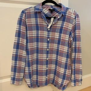 NEW😎 J Crew Woven Small Plaid Button Down Shirt S